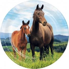 8 Platos Caballo y Pony 18 cm