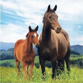 16 Servilletas Caballo y Pony 33 cm