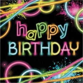 16 Servilletas Glow Party Happy Birthday 33 cm