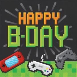 16 Servilletas Videojuegos Happy Birthday 33 cm