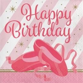 16 Servilletas Bailarina Happy Birthday 33 cm