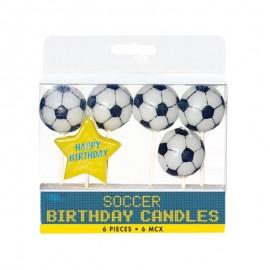 5 Velas Futbol forma Pelota con Estrella Happy Birthday