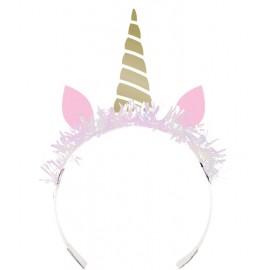 8 Tiaras Unicornio Foil Dorado