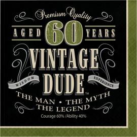16 Servilletas 60 años Vintage 33 cm