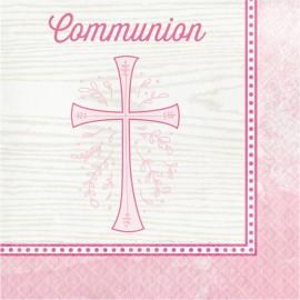 16 Servilletas Comunión Cruz Rosa 33 Cm