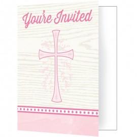 8 Invitaciones Cruz Rosa