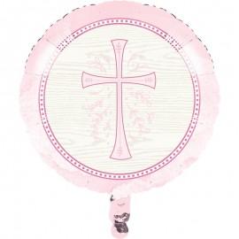 Globo Foil Cruz Rosa 45 Cm