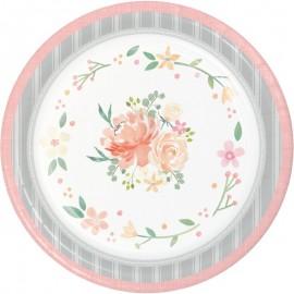 8 Platos Floral 26 cm