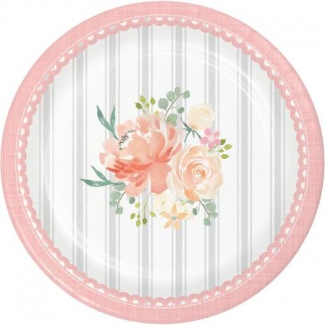 8 Platos Floral 18 cm