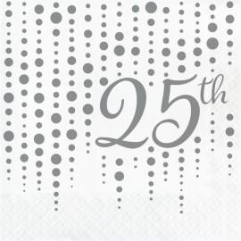 16 Servilletas 25 años Lunares Plateados 33 cm