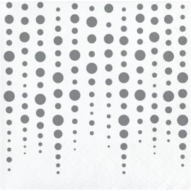 16 Servilletas Lunares Plateados 25 cm