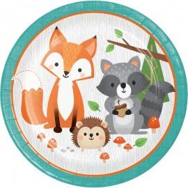 8 Platos Animalitos del Bosque 23 cm