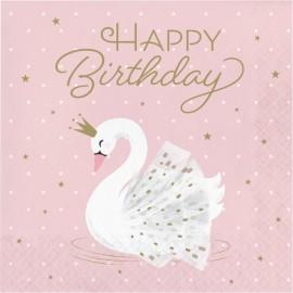 16 Servilletas Cisne Happy Birthday 33 cm