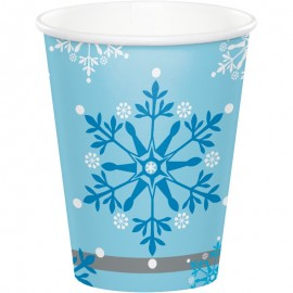 8 Vasos Copos de Nieve