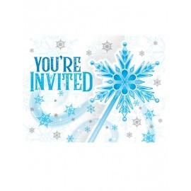 8 Invitaciones Copos de Nieve ¡