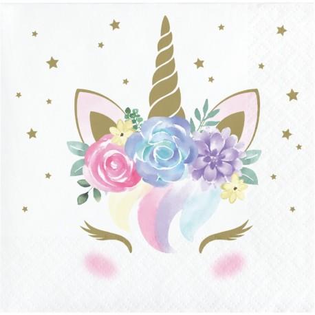 16 Servilletas Unicornio Baby 25 cm