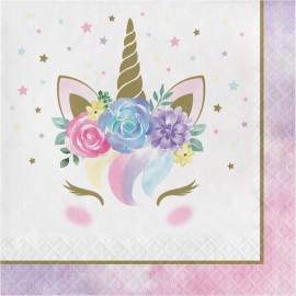 16 Servilletas Unicornio Baby 33 cm