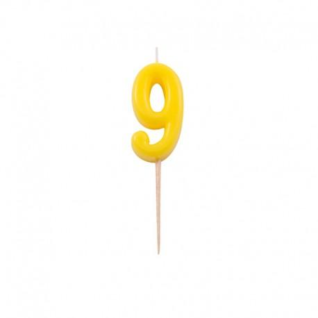 Vela con Numero 9 y Palillo