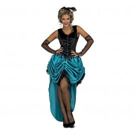 Disfraz de Señorita Saloon Azul Adulto