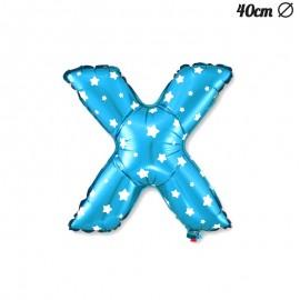 Globo Letra X Foil Azul con Estrellas 40 cm