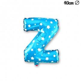 Globo Letra Z Foil Azul con Estrellas 40 cm
