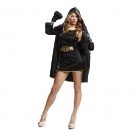 Disfraz de Boxeadora Negro Adulto