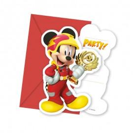 6 Invitaciones Mickey Piloto