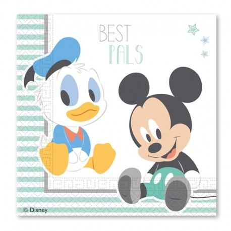 20 Servilletas Baby Mickey 33 cm