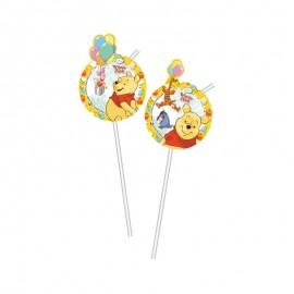 6 Pajitas Medallón Winnie the Pooh