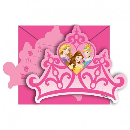6 Invitaciones Princesas Dream Disney