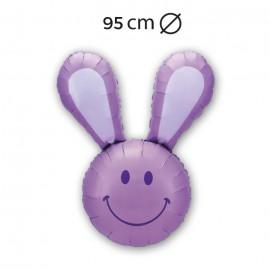 Globo Forma Sonrisa Conejo Foil 95 cm