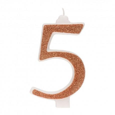 Vela Purpurina Oro Nº5 13 cm