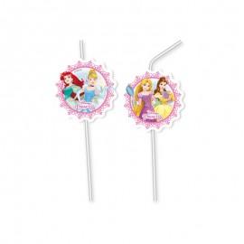 6 Pajitas Medallón Princesas Disney