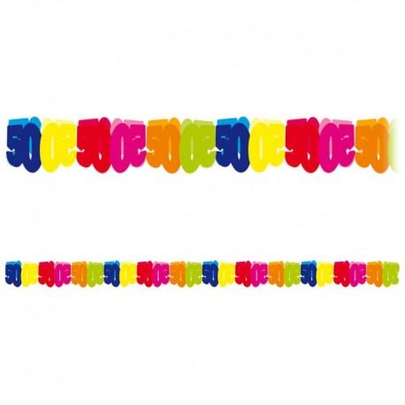 Guirnalda de papel número 50 multicolor 6 m