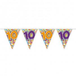 Banderín de Colores con Número 10