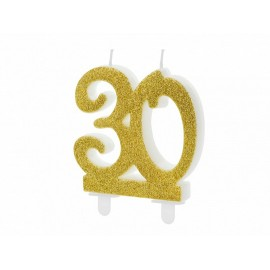 Vela 30 años con Purpurina Dorada