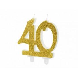 Vela 40 años con Purpurina Dorada