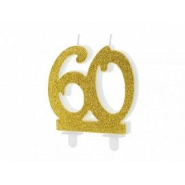 Vela 60 años con Purpurina Dorada