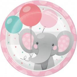 8 Platos Elefantito rosa 18 cm