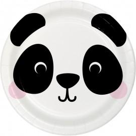 8 Platos Panda Caras de Animalitos 18 cm