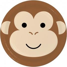 8 Platos Mono Caras de Animalitos 18 cm