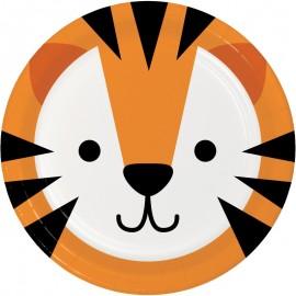 8 Platos Tigre Caras de Animalitos 18 cm