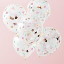 5 Globos con Confeti Floral