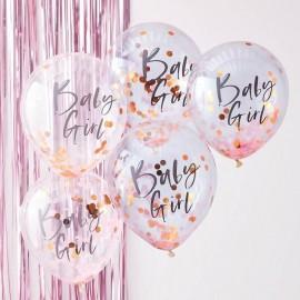 5 Globos de Confeti Baby Girl