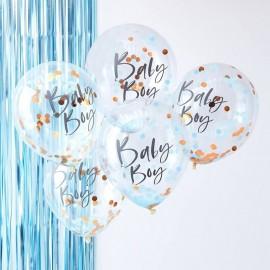 5 Globos de Confeti Baby Boy