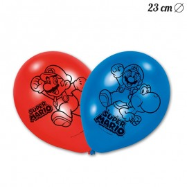 6 Globos Super Mario 23 cm