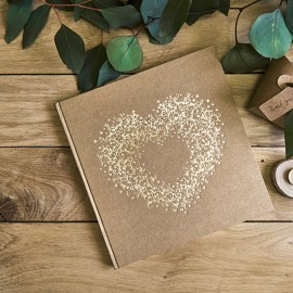 Libro de Firmas Kraft Corazón Dorado
