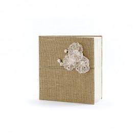 Libro de Firmas con Flores de Encaje