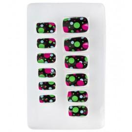 Set de 12 Uñas Bolitas Neon