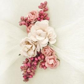 Cojín para Anillos Color Crema con Flores